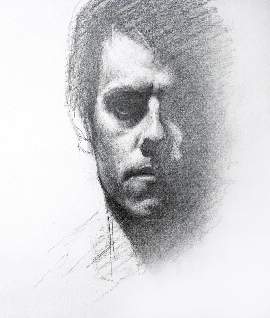 Dibujo Autoretrato lápiz. Diego Catalán. Estudio Nigredo - Academia de Pintura y Dibujo