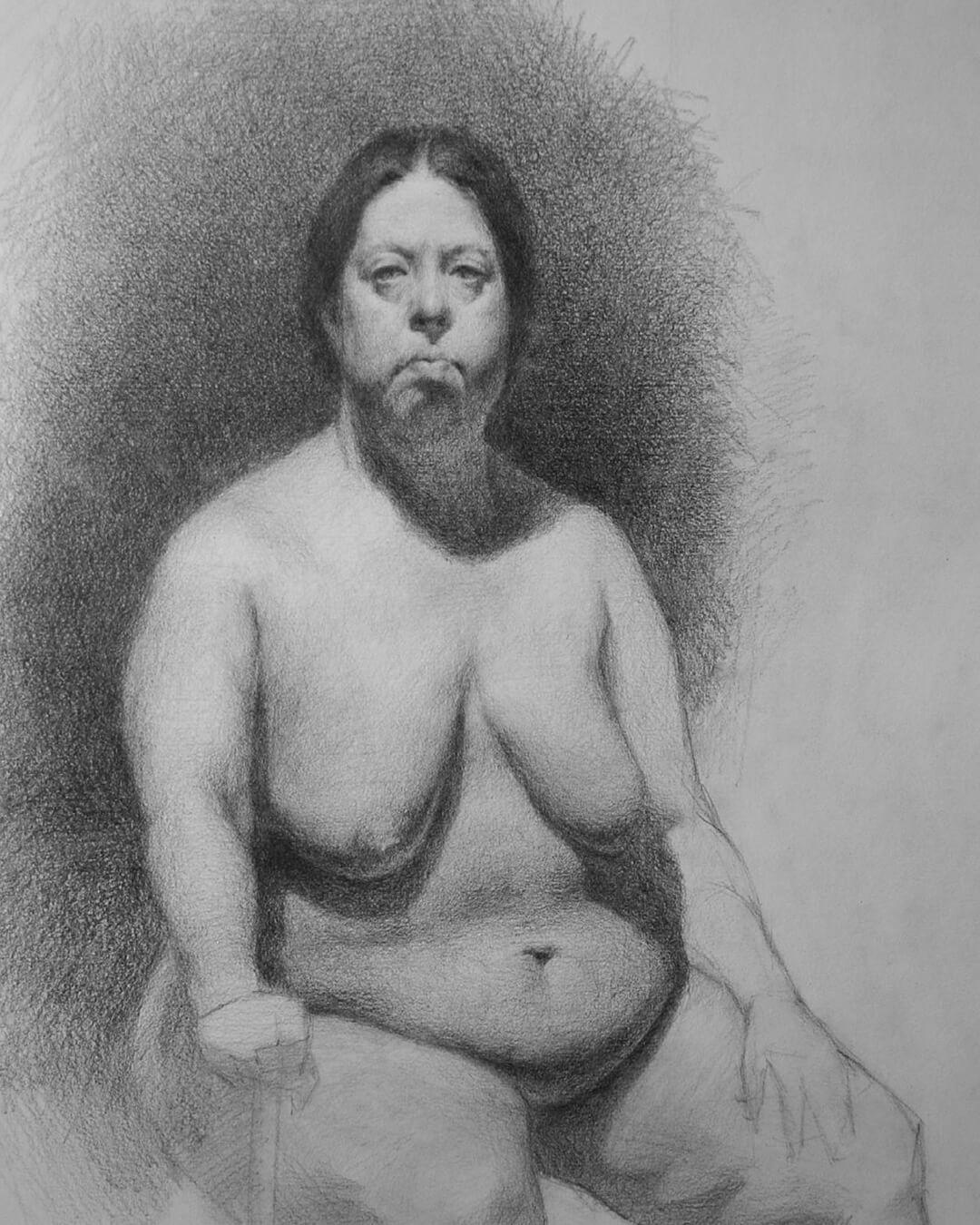 Dibujo Figura lápiz. Diego Catalán. Estudio Nigredo - Academia de Pintura y Dibujo