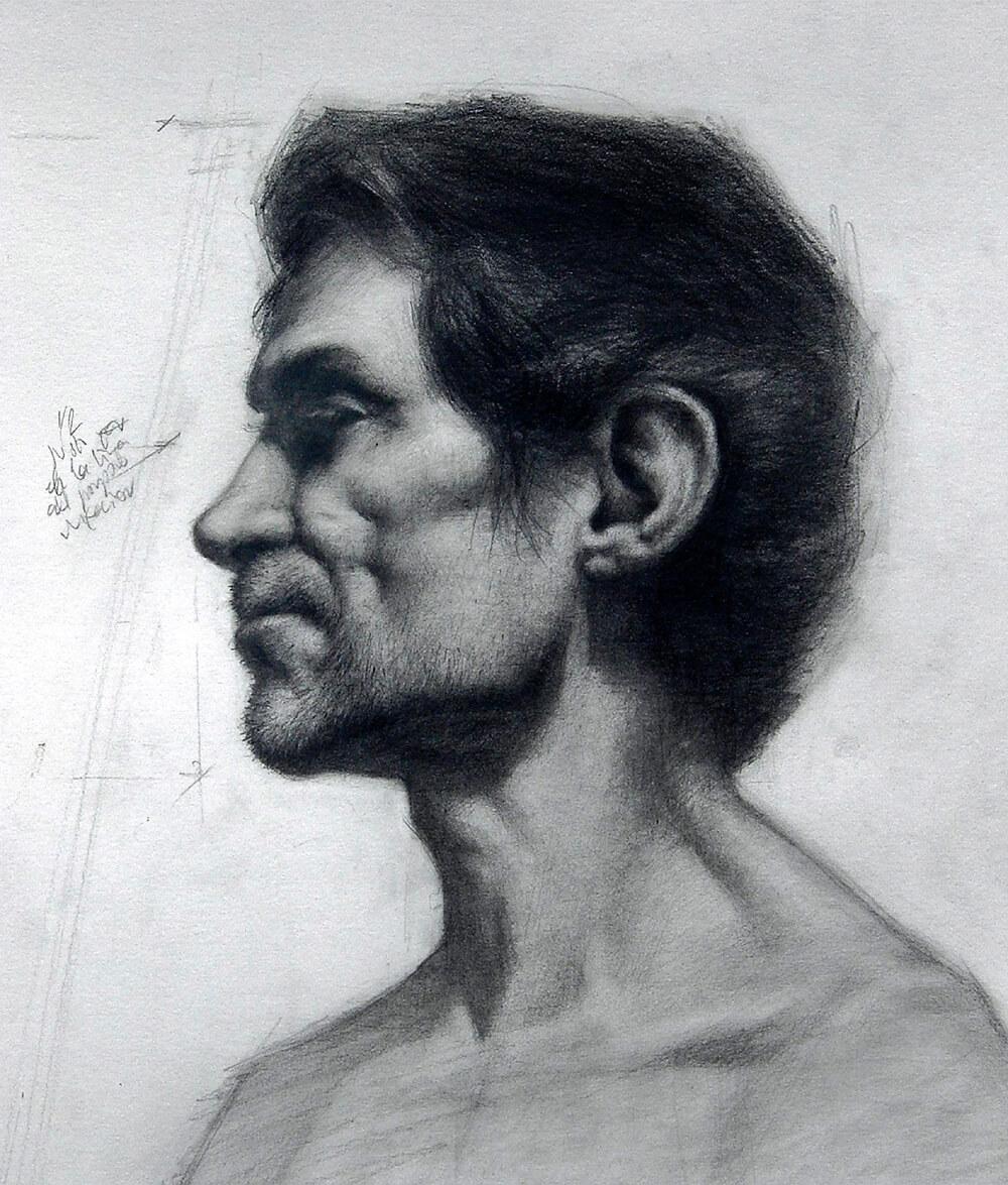 Dibujo Retrato lápiz. Diego Catalán. Estudio Nigredo - Academia de Pintura y Dibujo