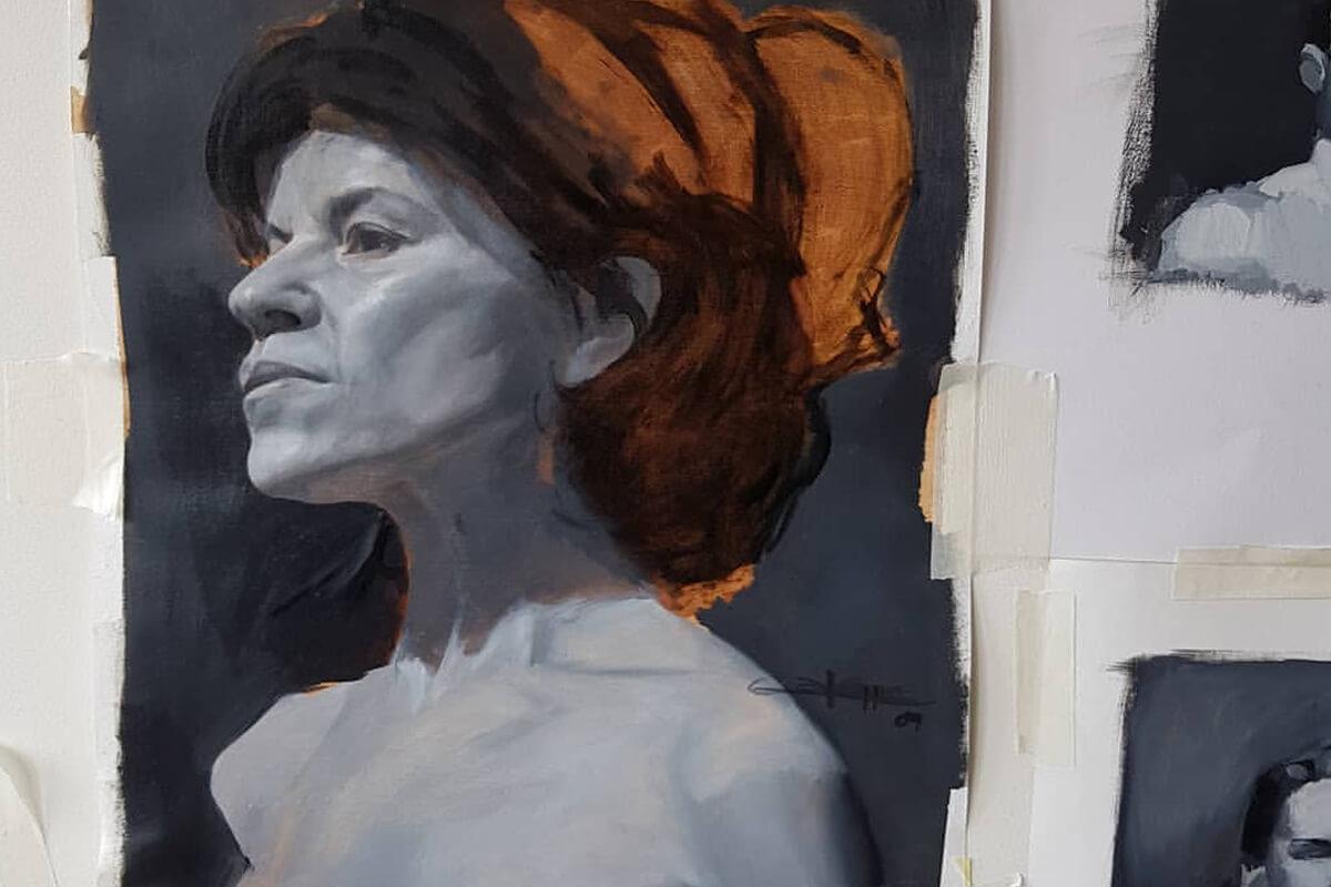 Pintura de retrato al óleo. Academia de Pintura y Dibujo Estudio Nigredo. Calle Granada 11 Madrid