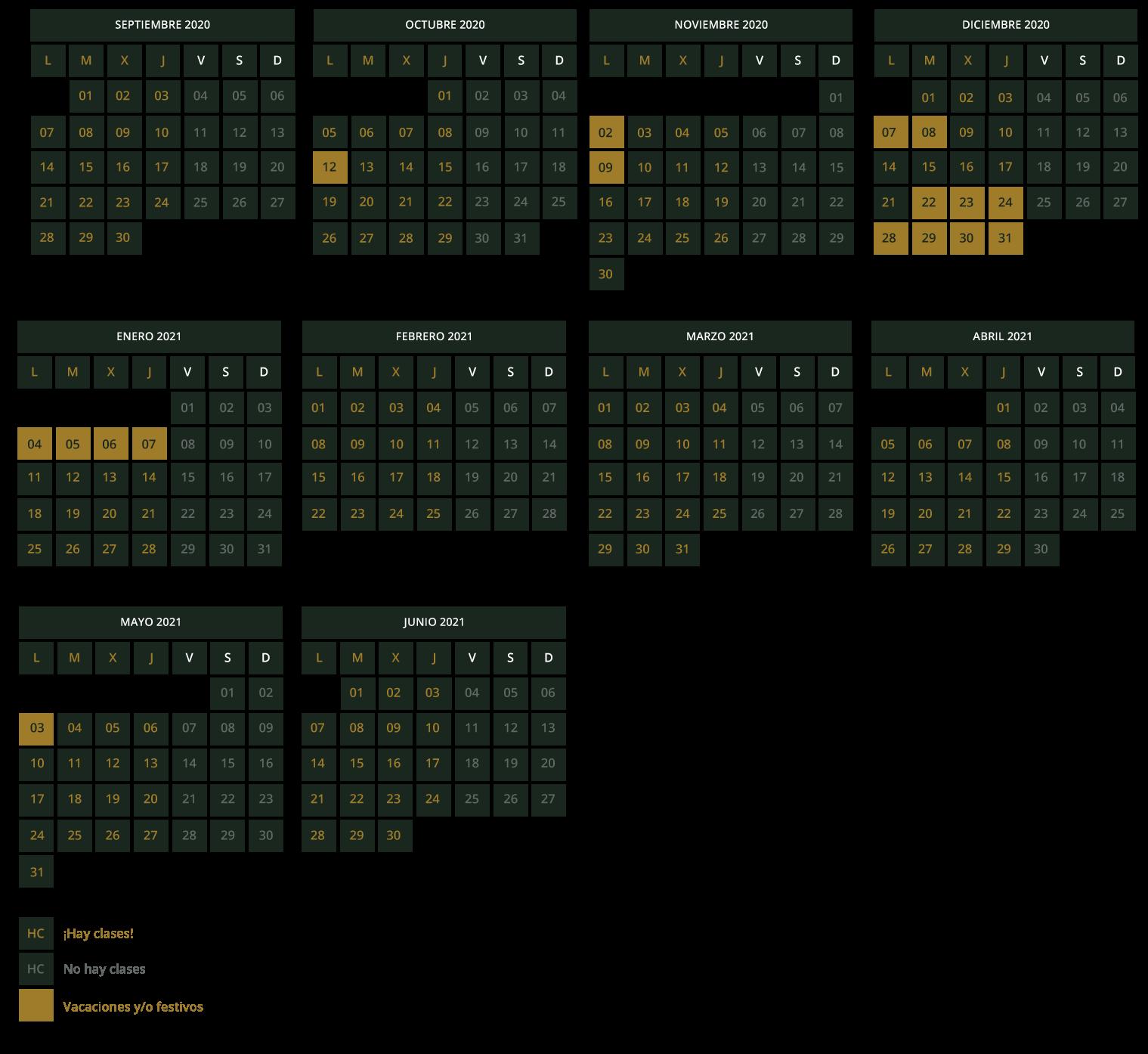 Estudio Nigredo Calendario 20-21